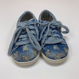 ZARA Baby Blue Denim Sneakers w/ Bees 20